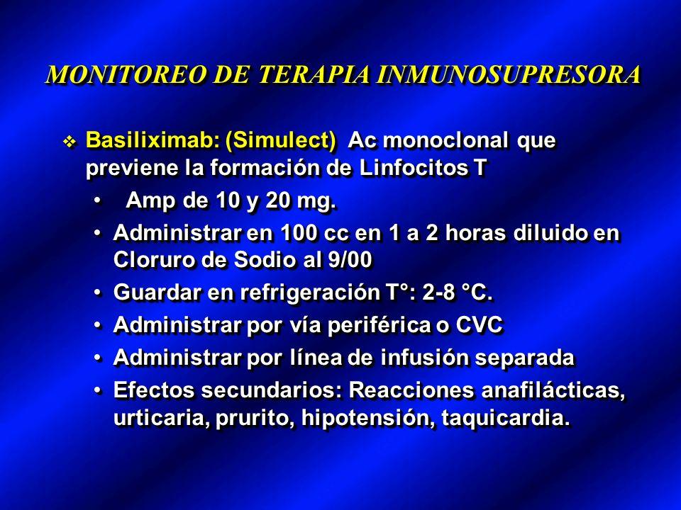 MONITOREO DE TERAPIA INMUNOSUPRESORA Basiliximab: (Simulect) Ac monoclonal que previene la formación de Linfocitos T Basiliximab: (Simulect) Ac monoclonal que previene la formación de Linfocitos T Amp de 10 y 20 mg.