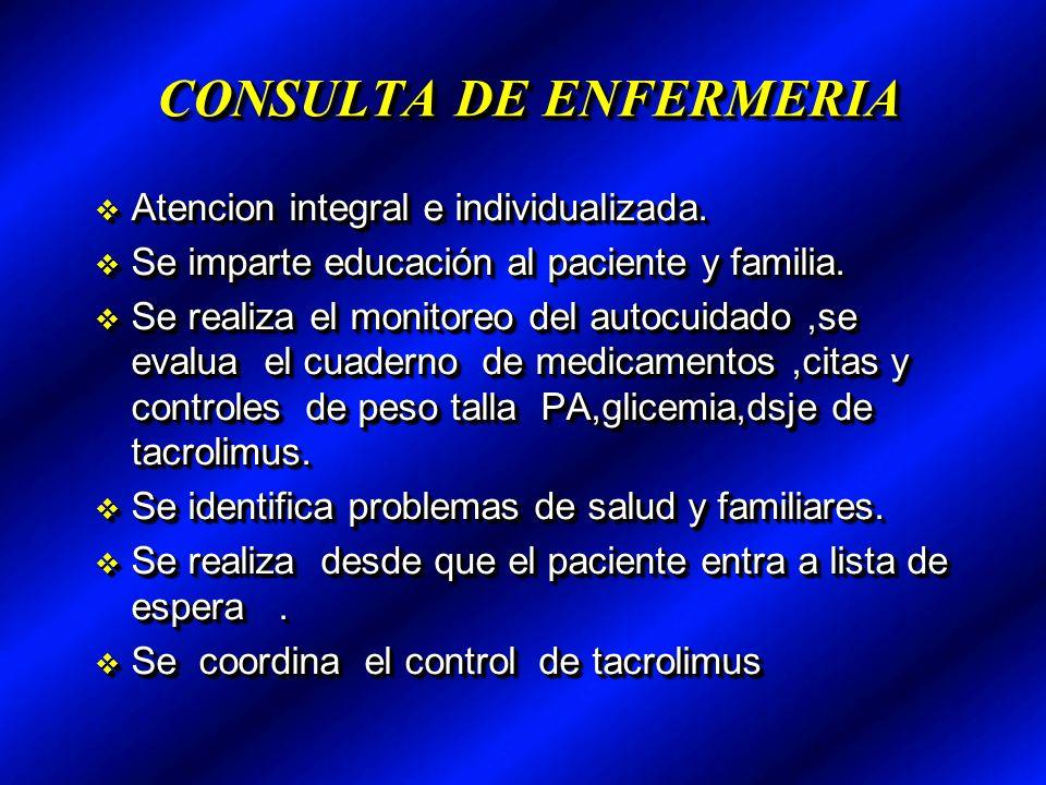 CONSULTA DE ENFERMERIA Atencion integral e individualizada.