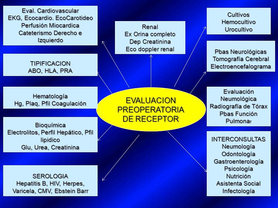 EVALUACION PREOPERATORIA DE RECEPTOR Eval. Cardiovascular EKG, Ecocardio.
