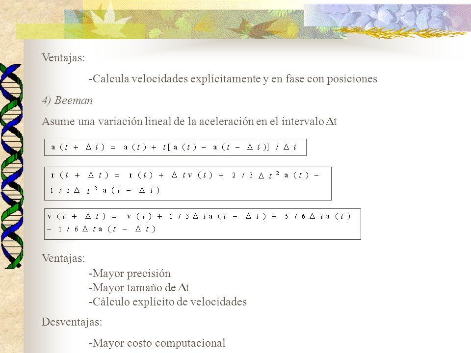 Ventajas: -Calcula velocidades explícitamente y en fase con posiciones 4) Beeman Asume una variación lineal de la aceleración en el intervalo t Ventaj