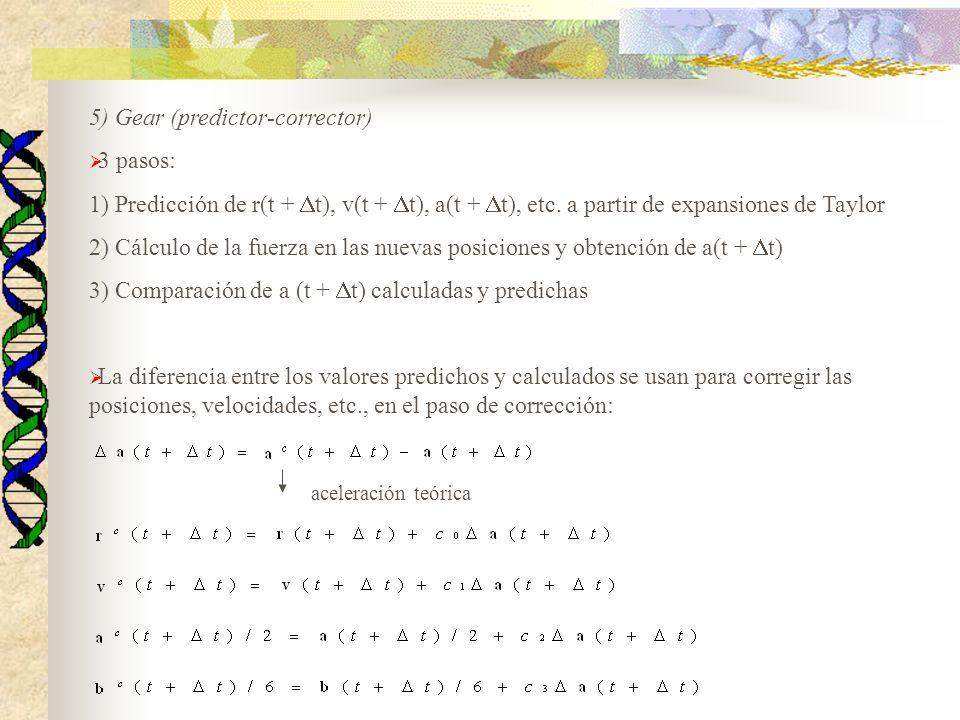 5) Gear (predictor-corrector) 3 pasos: 1) Predicción de r(t + t), v(t + t), a(t + t), etc. a partir de expansiones de Taylor 2) Cálculo de la fuerza e