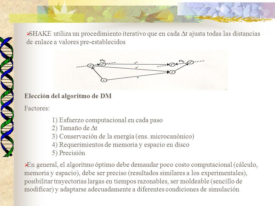 Elección del algoritmo de DM Factores: 1) Esfuerzo computacional en cada paso 2) Tamaño de t 3) Conservación de la energía (ens. microcanónico) 4) Req