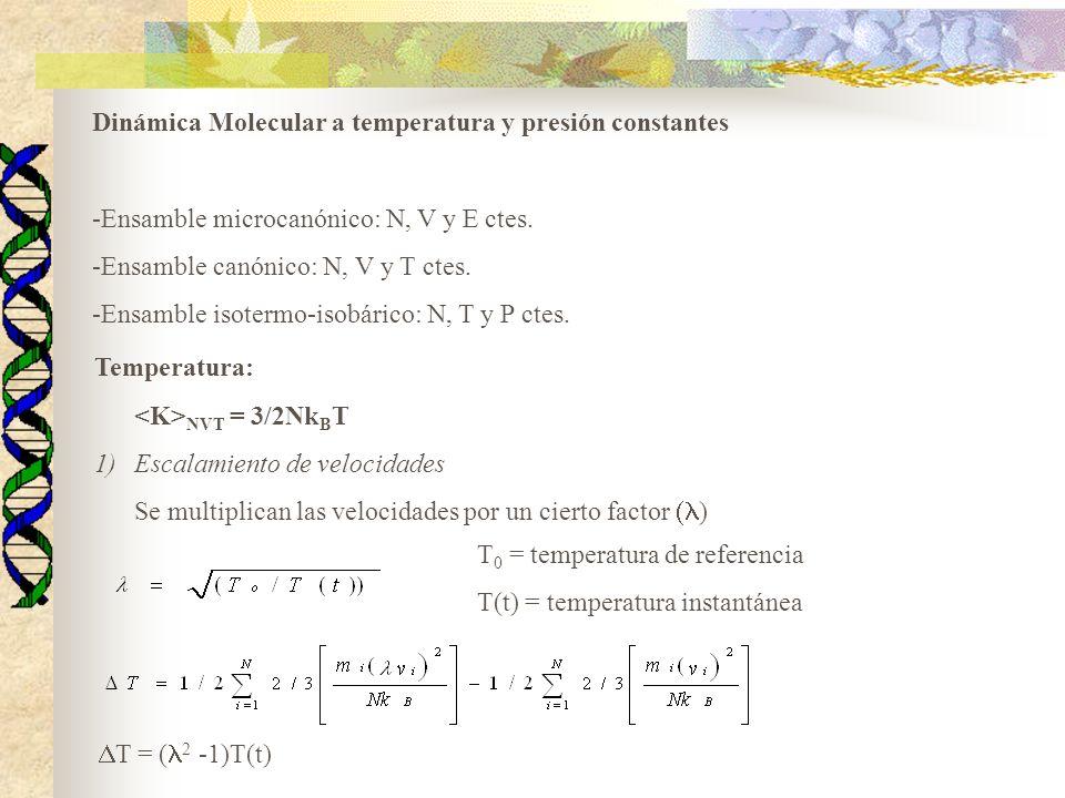 Dinámica Molecular a temperatura y presión constantes -Ensamble microcanónico: N, V y E ctes. -Ensamble canónico: N, V y T ctes. -Ensamble isotermo-is