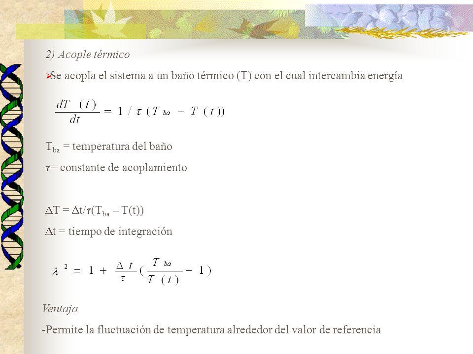 2) Acople térmico Se acopla el sistema a un baño térmico (T) con el cual intercambia energía T ba = temperatura del baño = constante de acoplamiento T