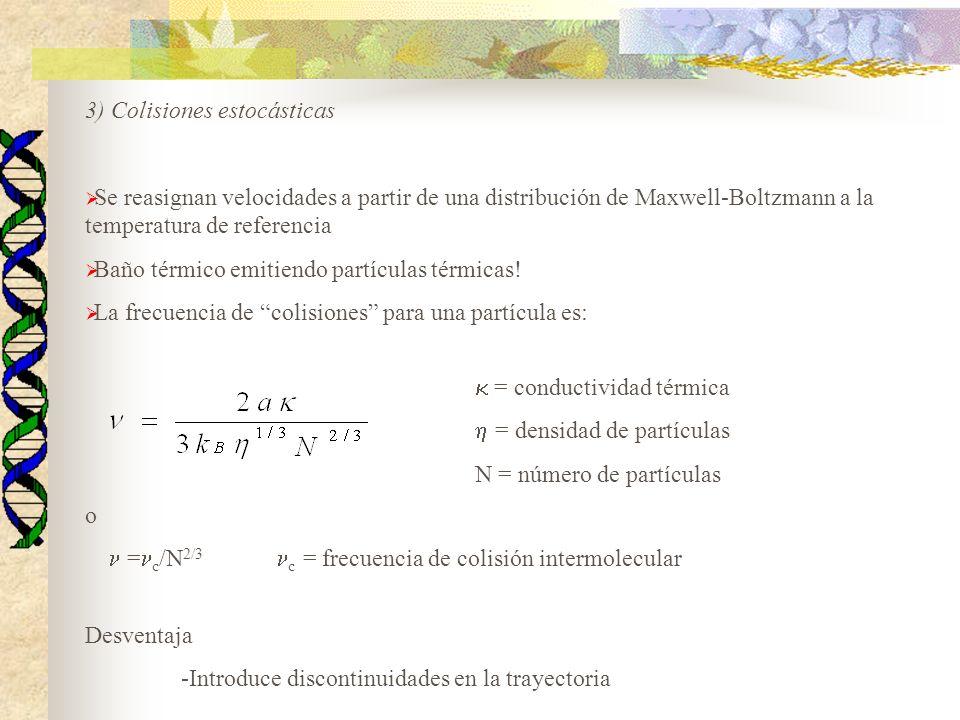 3) Colisiones estocásticas Se reasignan velocidades a partir de una distribución de Maxwell-Boltzmann a la temperatura de referencia Baño térmico emit