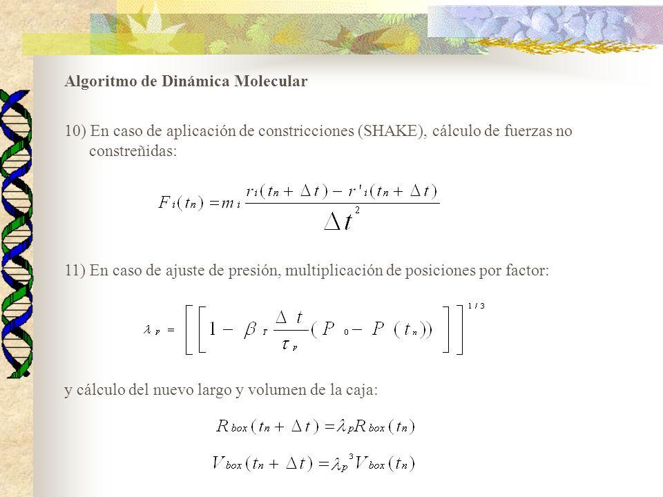 Algoritmo de Dinámica Molecular 10) En caso de aplicación de constricciones (SHAKE), cálculo de fuerzas no constreñidas: 11) En caso de ajuste de pres
