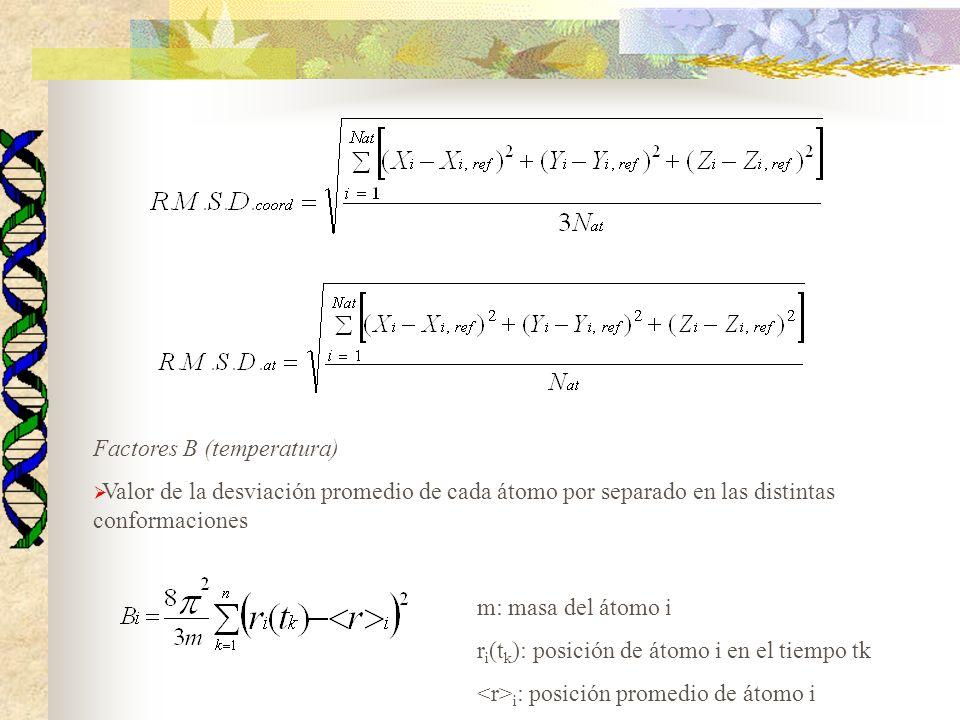 Factores B (temperatura) Valor de la desviación promedio de cada átomo por separado en las distintas conformaciones m: masa del átomo i r i (t k ): po