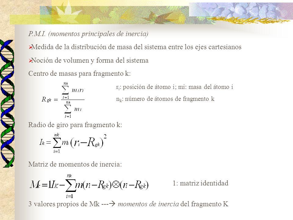P.M.I. (momentos principales de inercia) Medida de la distribución de masa del sistema entre los ejes cartesianos Noción de volumen y forma del sistem
