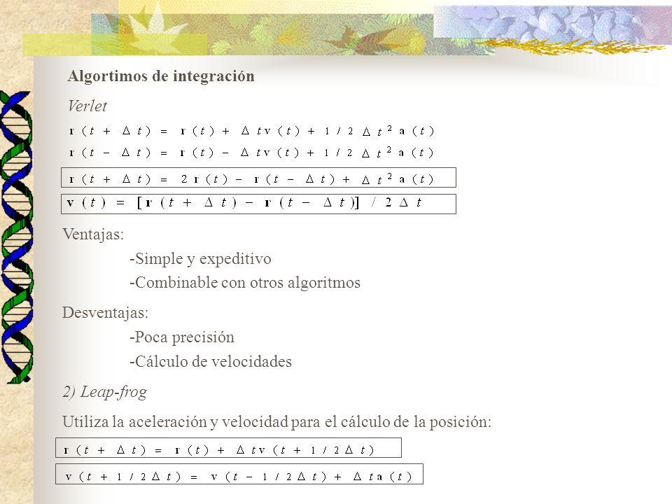 Ventajas: -Simple y expeditivo -Combinable con otros algoritmos Desventajas: -Poca precisión -Cálculo de velocidades 2) Leap-frog Utiliza la aceleraci