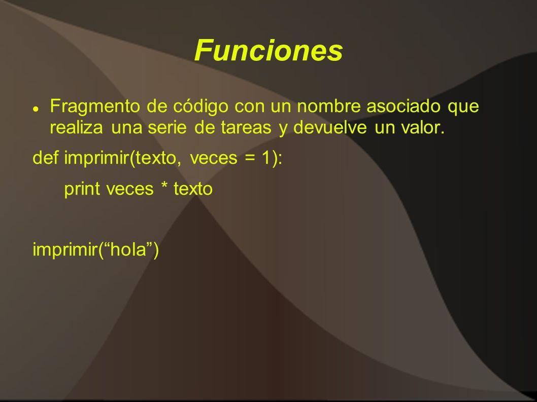 Funciones Fragmento de código con un nombre asociado que realiza una serie de tareas y devuelve un valor. def imprimir(texto, veces = 1): print veces