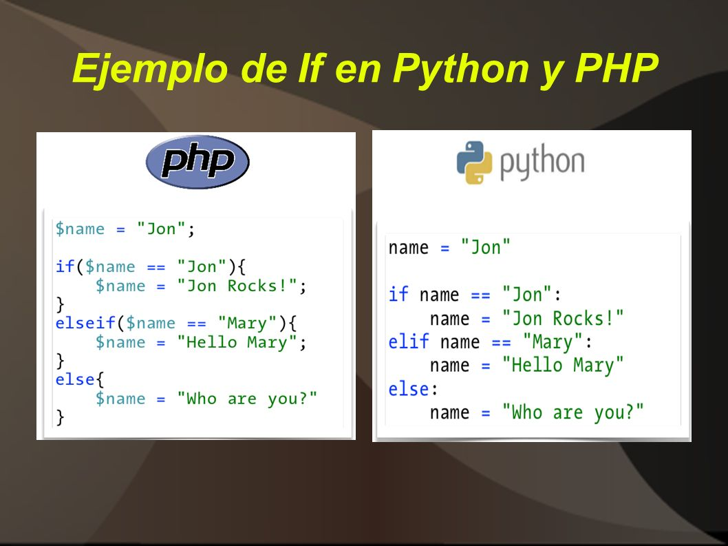 Ejemplo de If en Python y PHP