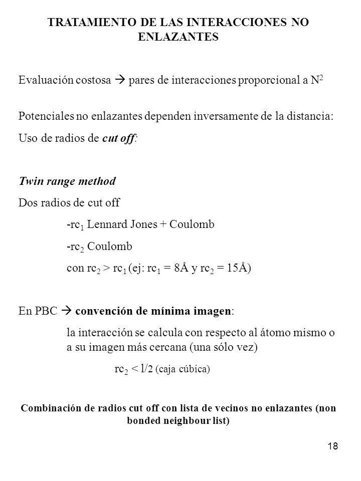 18 TRATAMIENTO DE LAS INTERACCIONES NO ENLAZANTES Evaluación costosa pares de interacciones proporcional a N 2 Potenciales no enlazantes dependen inve
