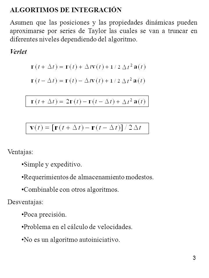 3 ALGORTIMOS DE INTEGRACIÓN Asumen que las posiciones y las propiedades dinámicas pueden aproximarse por series de Taylor las cuales se van a truncar
