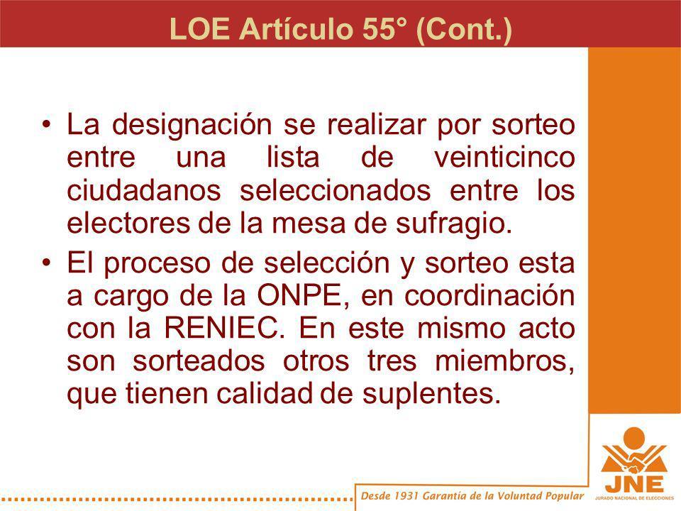 LOE Artículo 55° (Cont.) La designación se realizar por sorteo entre una lista de veinticinco ciudadanos seleccionados entre los electores de la mesa de sufragio.