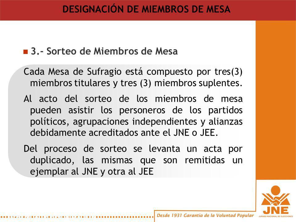 3.- Sorteo de Miembros de Mesa Cada Mesa de Sufragio está compuesto por tres(3) miembros titulares y tres (3) miembros suplentes.