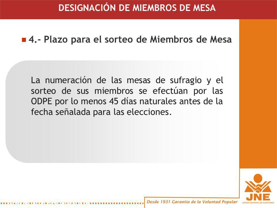 4.- Plazo para el sorteo de Miembros de Mesa La numeración de las mesas de sufragio y el sorteo de sus miembros se efectúan por las ODPE por lo menos 45 días naturales antes de la fecha señalada para las elecciones.