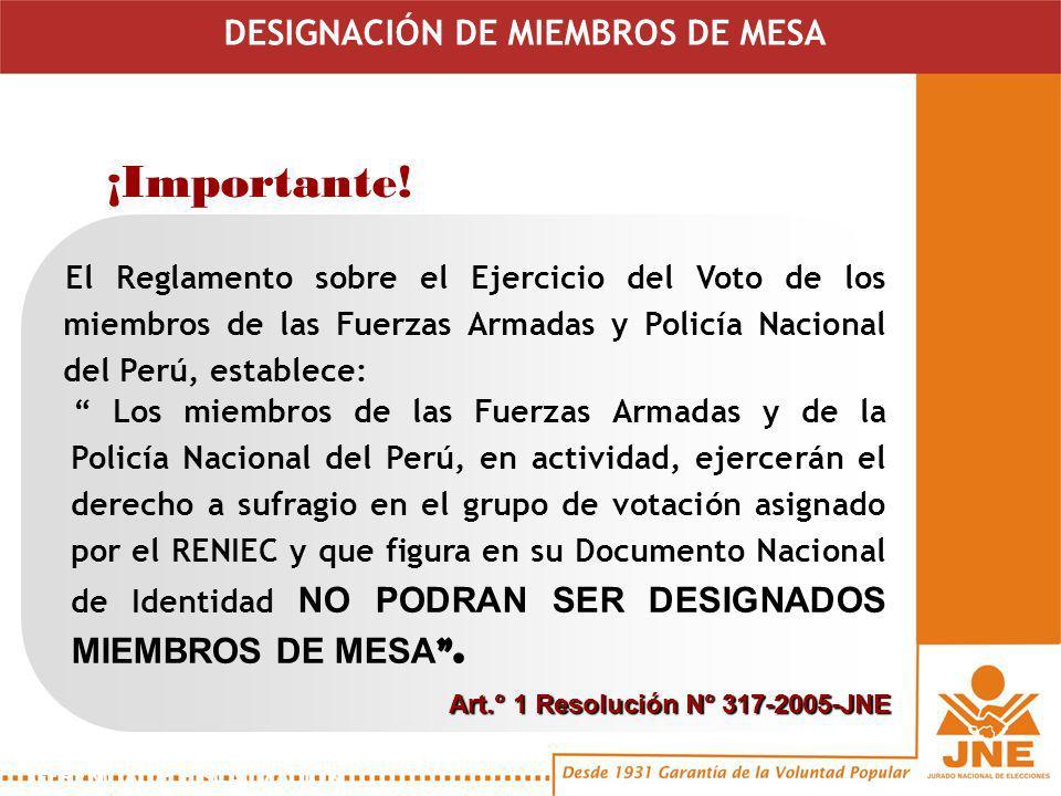 Los miembros de las Fuerzas Armadas y de la Policía Nacional del Perú, en actividad, ejercerán el derecho a sufragio en el grupo de votación asignado por el RENIEC y que figura en su Documento Nacional de Identidad NO PODRAN SER DESIGNADOS MIEMBROS DE MESA.