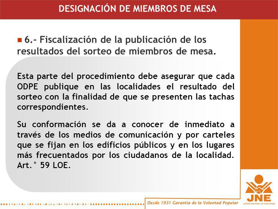 Esta parte del procedimiento debe asegurar que cada ODPE publique en las localidades el resultado del sorteo con la finalidad de que se presenten las tachas correspondientes.