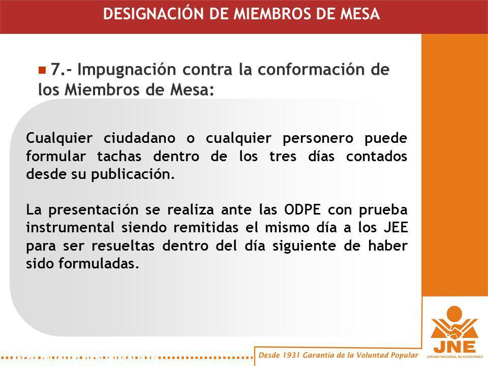 7.- Impugnación contra la conformación de los Miembros de Mesa: GERENCIA DE FISCALIZACIÓN Cualquier ciudadano o cualquier personero puede formular tachas dentro de los tres días contados desde su publicación.