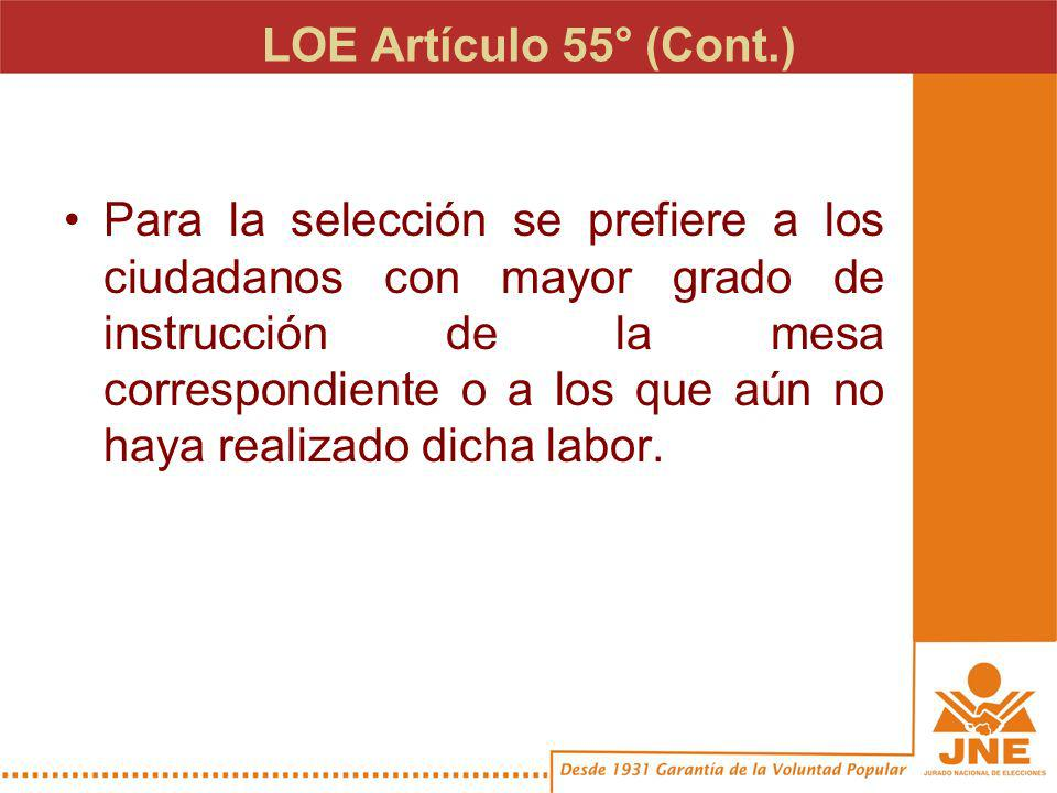 LOE Artículo 57° No pueden ser miembros de las mesas de sufragio: –Los candidatos y personeros de los partidos políticos, agrupaciones independientes y alianzas.