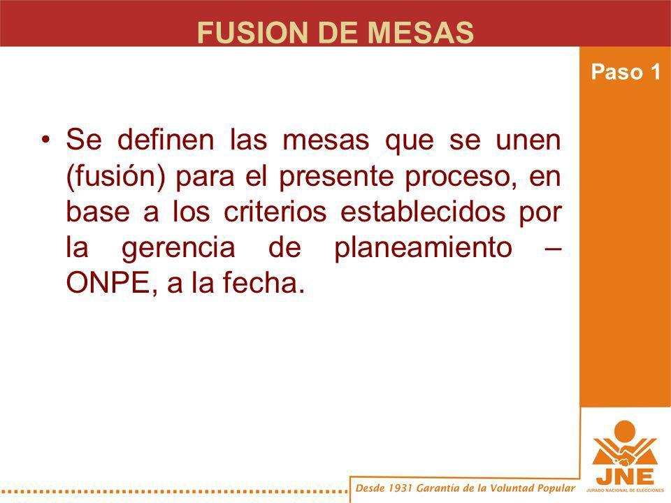 FUSION DE MESAS Se definen las mesas que se unen (fusión) para el presente proceso, en base a los criterios establecidos por la gerencia de planeamiento – ONPE, a la fecha.