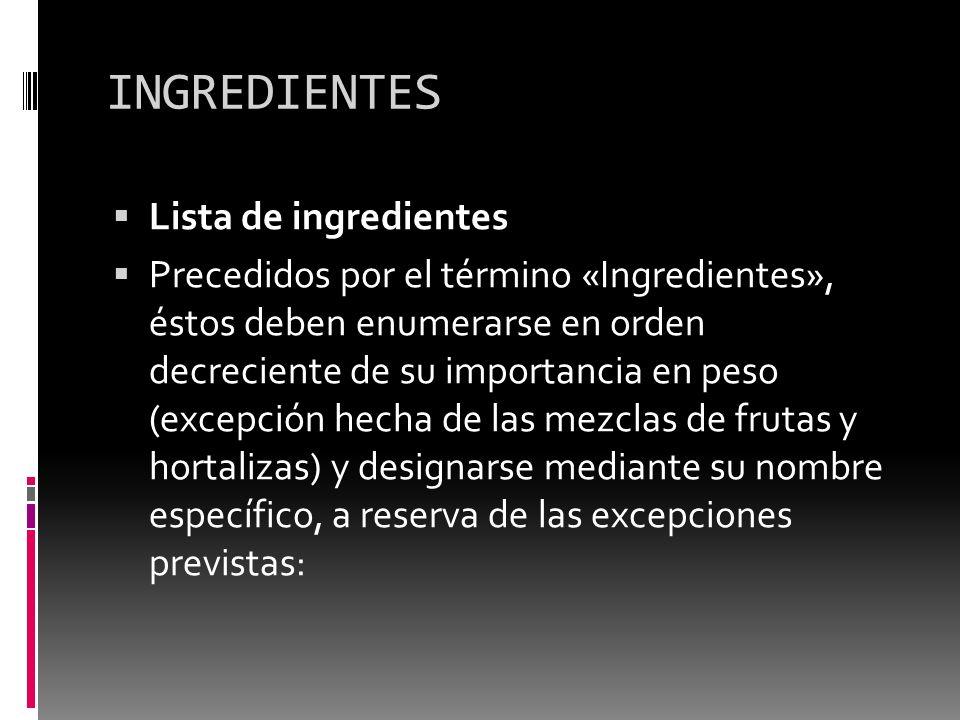 INGREDIENTES Lista de ingredientes Precedidos por el término «Ingredientes», éstos deben enumerarse en orden decreciente de su importancia en peso (ex