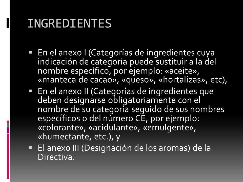 INGREDIENTES En el anexo I (Categorías de ingredientes cuya indicación de categoría puede sustituir a la del nombre específico, por ejemplo: «aceite»,