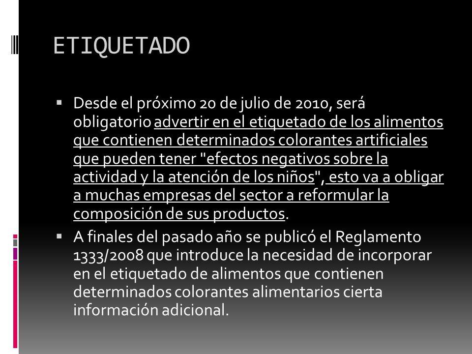 ETIQUETADO Desde el próximo 20 de julio de 2010, será obligatorio advertir en el etiquetado de los alimentos que contienen determinados colorantes art