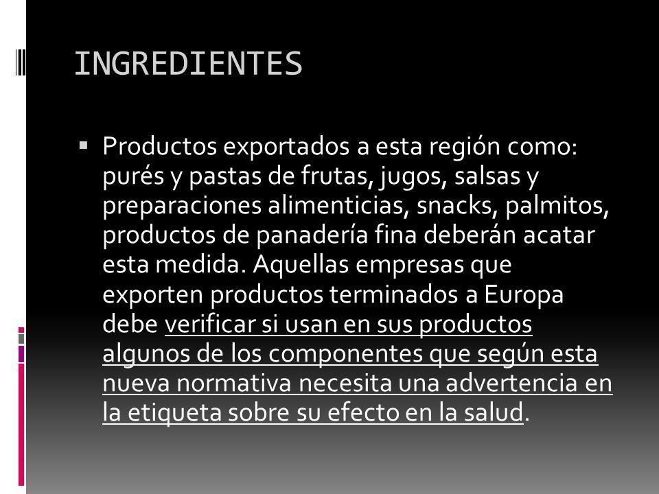 INGREDIENTES Productos exportados a esta región como: purés y pastas de frutas, jugos, salsas y preparaciones alimenticias, snacks, palmitos, producto