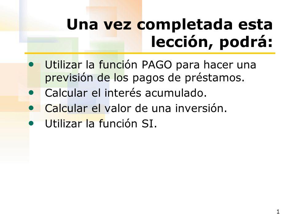 2 Uso de la función PAGO Para utilizar la función PAGO 1.Haga clic en la celda que contendrá la fórmula.
