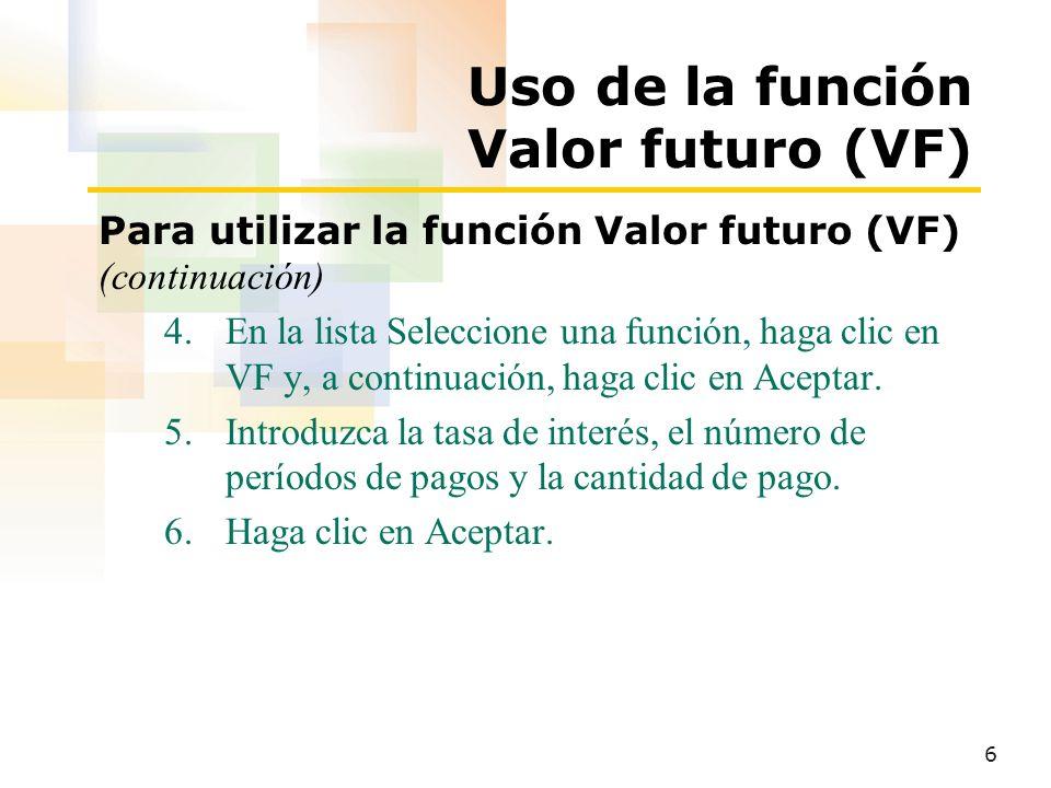 7 Uso de la función SI Para utilizar la función SI 1.Haga clic en la celda que contendrá la fórmula.