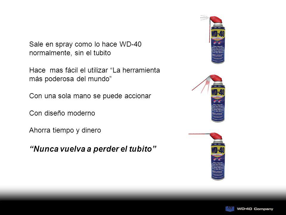 Sale en spray como lo hace WD-40 normalmente, sin el tubito Hace mas fácil el utilizar La herramienta más poderosa del mundo Con una sola mano se puede accionar Con diseño moderno Ahorra tiempo y dinero Nunca vuelva a perder el tubito