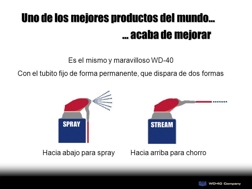 Uno de los mejores productos del mundo… … acaba de mejorar Es el mismo y maravilloso WD-40 Con el tubito fijo de forma permanente, que dispara de dos formas Hacia abajo para sprayHacia arriba para chorro