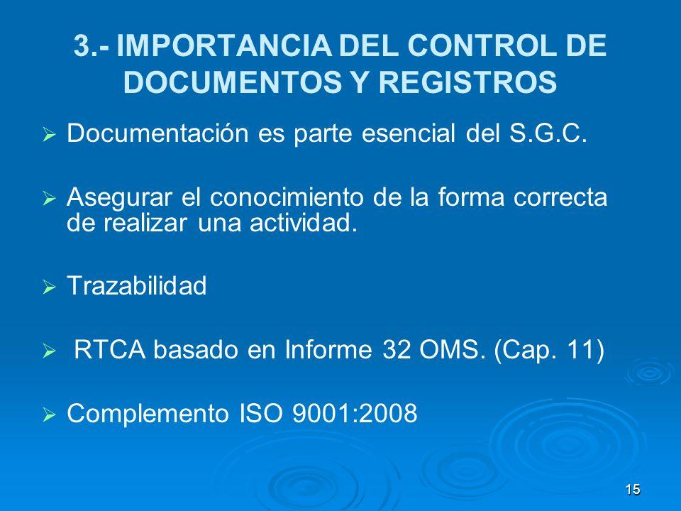 3.- IMPORTANCIA DEL CONTROL DE DOCUMENTOS Y REGISTROS Documentación es parte esencial del S.G.C. Asegurar el conocimiento de la forma correcta de real