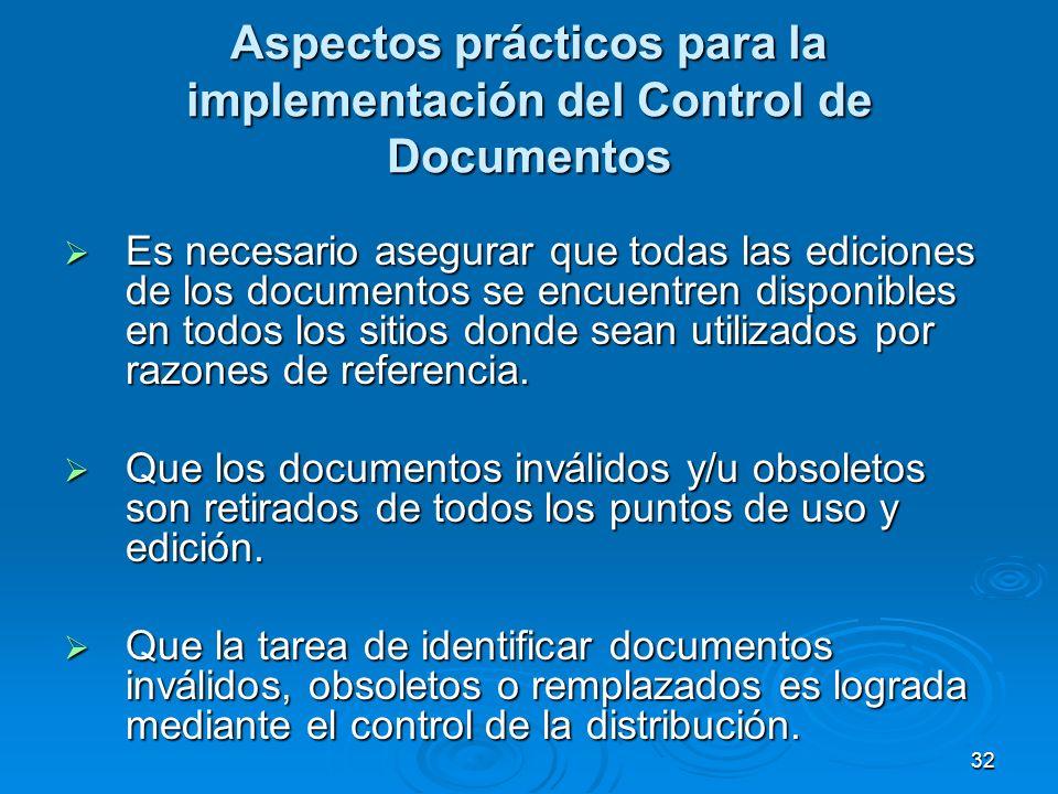 Aspectos prácticos para la implementación del Control de Documentos Es necesario asegurar que todas las ediciones de los documentos se encuentren disp