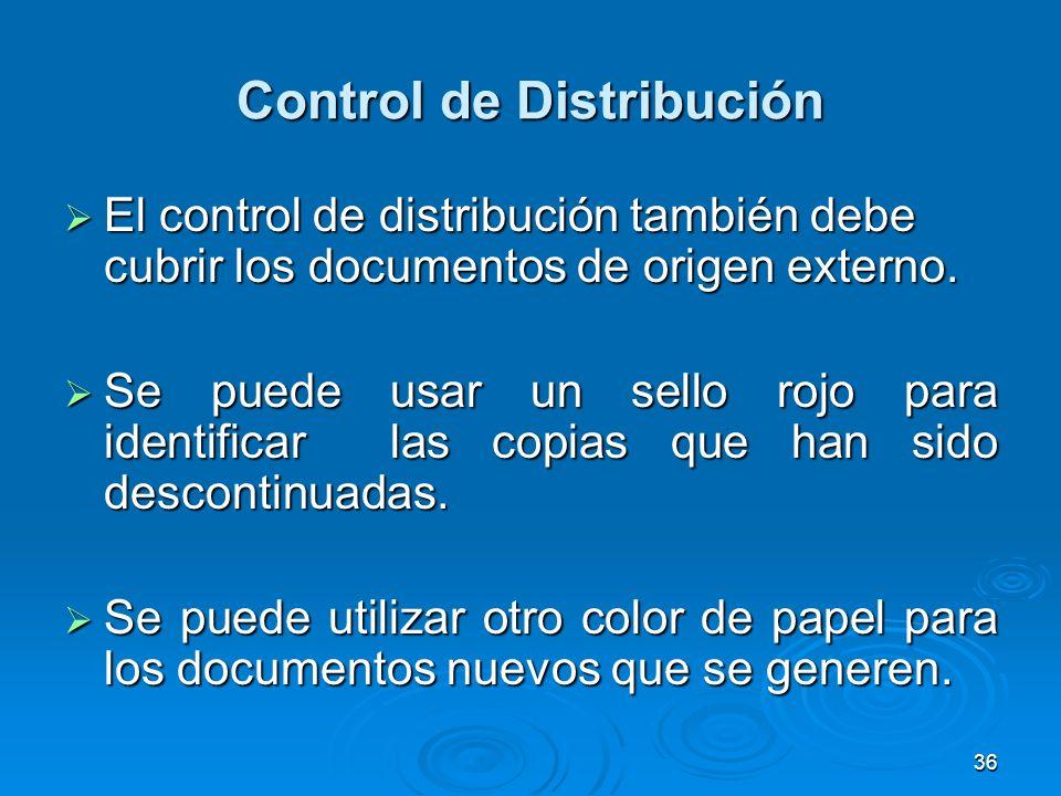 Control de Distribución El control de distribución también debe cubrir los documentos de origen externo. El control de distribución también debe cubri