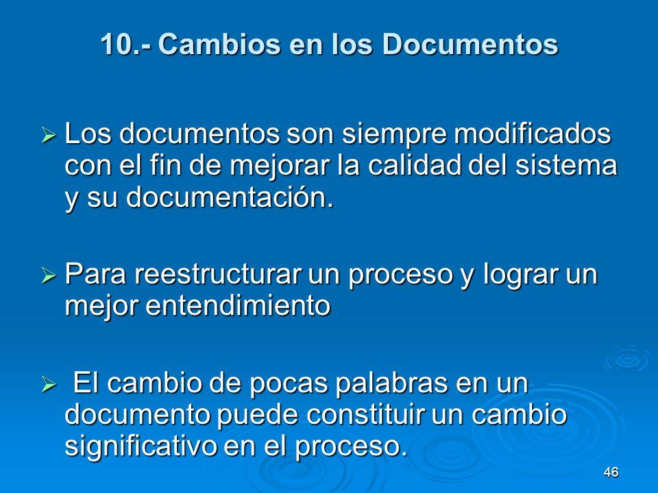 10.- Cambios en los Documentos Los documentos son siempre modificados con el fin de mejorar la calidad del sistema y su documentación. Los documentos