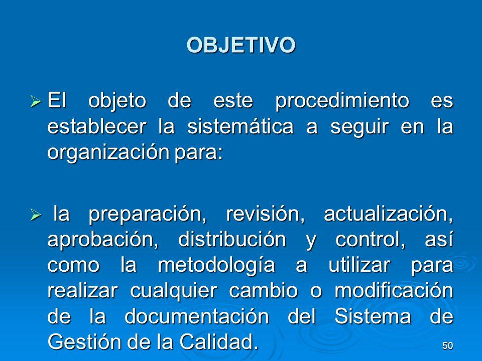 OBJETIVO El objeto de este procedimiento es establecer la sistemática a seguir en la organización para: El objeto de este procedimiento es establecer
