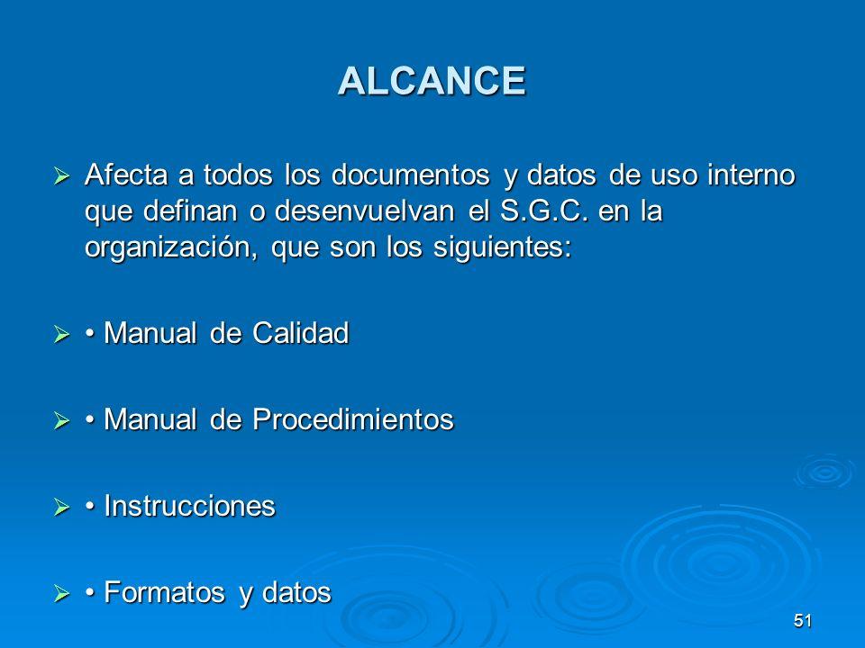 ALCANCE Afecta a todos los documentos y datos de uso interno que definan o desenvuelvan el S.G.C. en la organización, que son los siguientes: Afecta a