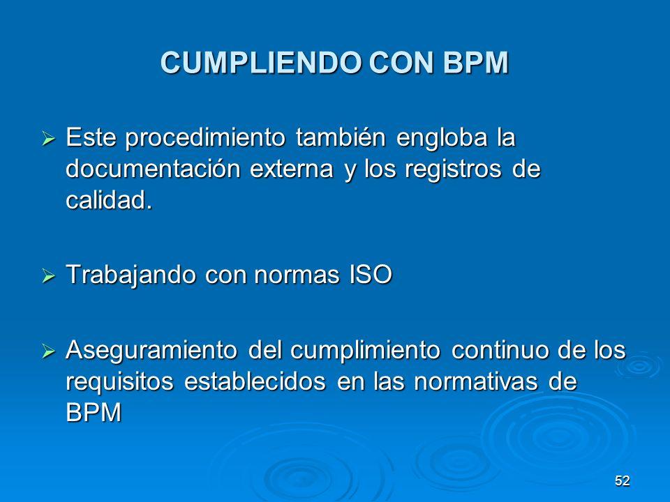 CUMPLIENDO CON BPM Este procedimiento también engloba la documentación externa y los registros de calidad. Este procedimiento también engloba la docum