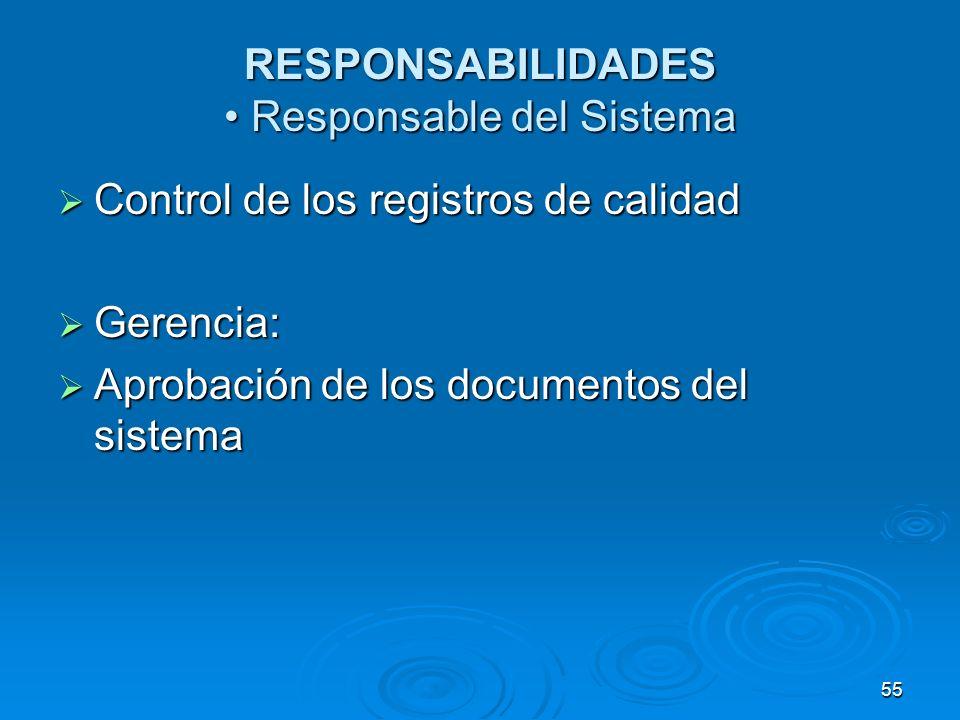 RESPONSABILIDADES Responsable del Sistema Control de los registros de calidad Control de los registros de calidad Gerencia: Gerencia: Aprobación de lo