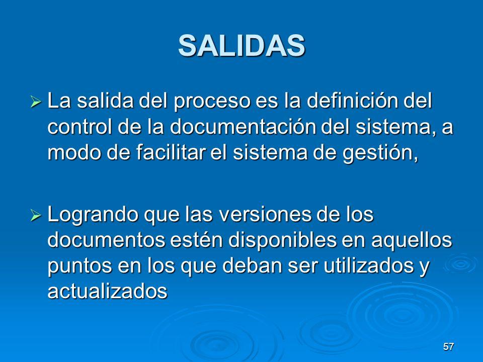 SALIDAS La salida del proceso es la definición del control de la documentación del sistema, a modo de facilitar el sistema de gestión, La salida del p
