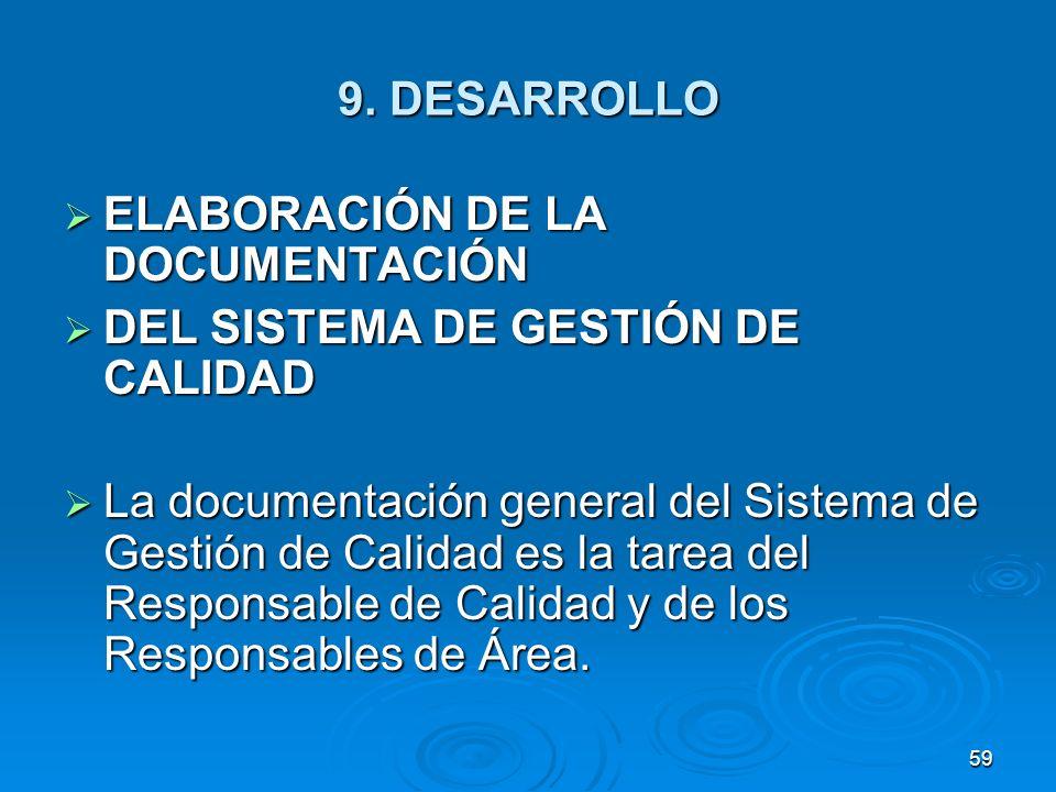 9. DESARROLLO ELABORACIÓN DE LA DOCUMENTACIÓN ELABORACIÓN DE LA DOCUMENTACIÓN DEL SISTEMA DE GESTIÓN DE CALIDAD DEL SISTEMA DE GESTIÓN DE CALIDAD La d