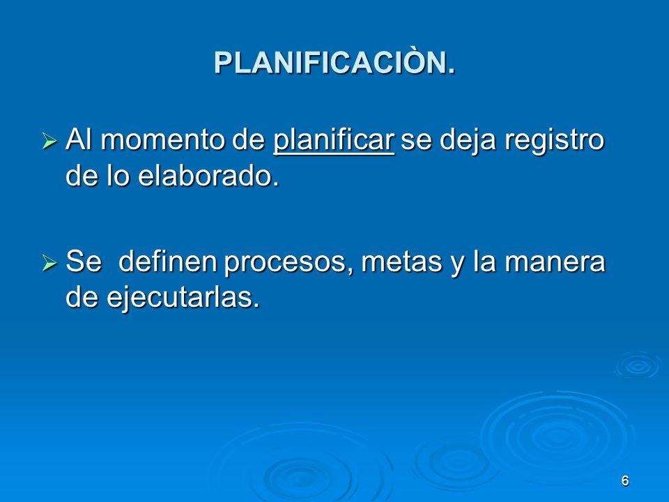 PLANIFICACIÒN. Al momento de planificar se deja registro de lo elaborado. Al momento de planificar se deja registro de lo elaborado. Se definen proces