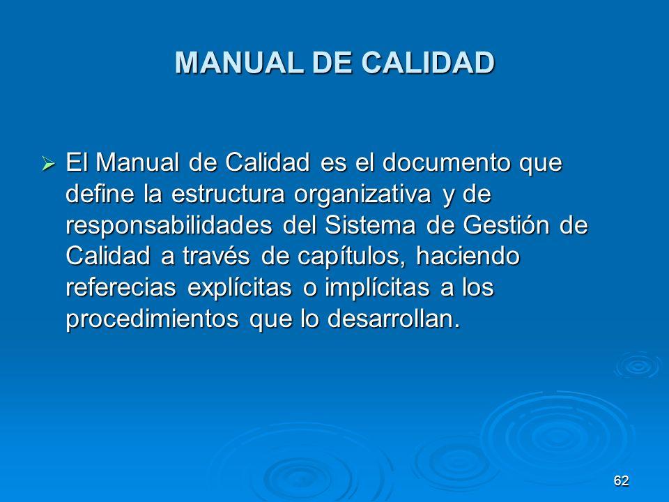 MANUAL DE CALIDAD El Manual de Calidad es el documento que define la estructura organizativa y de responsabilidades del Sistema de Gestión de Calidad