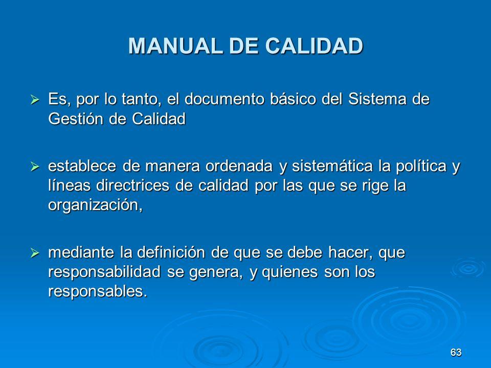MANUAL DE CALIDAD Es, por lo tanto, el documento básico del Sistema de Gestión de Calidad Es, por lo tanto, el documento básico del Sistema de Gestión