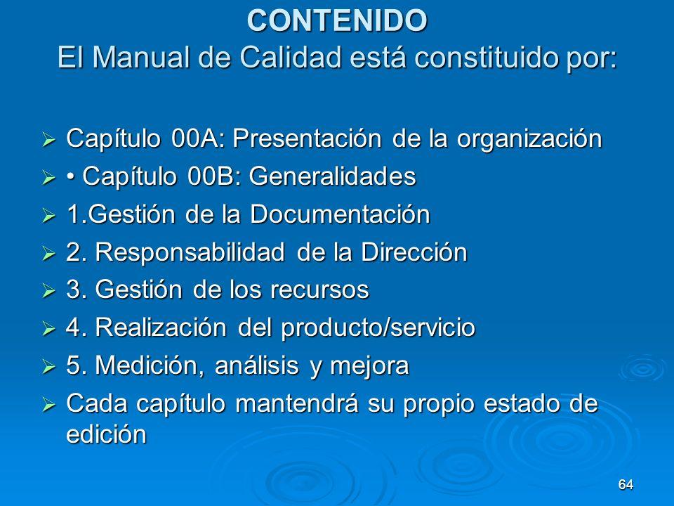 CONTENIDO El Manual de Calidad está constituido por: Capítulo 00A: Presentación de la organización Capítulo 00A: Presentación de la organización Capít