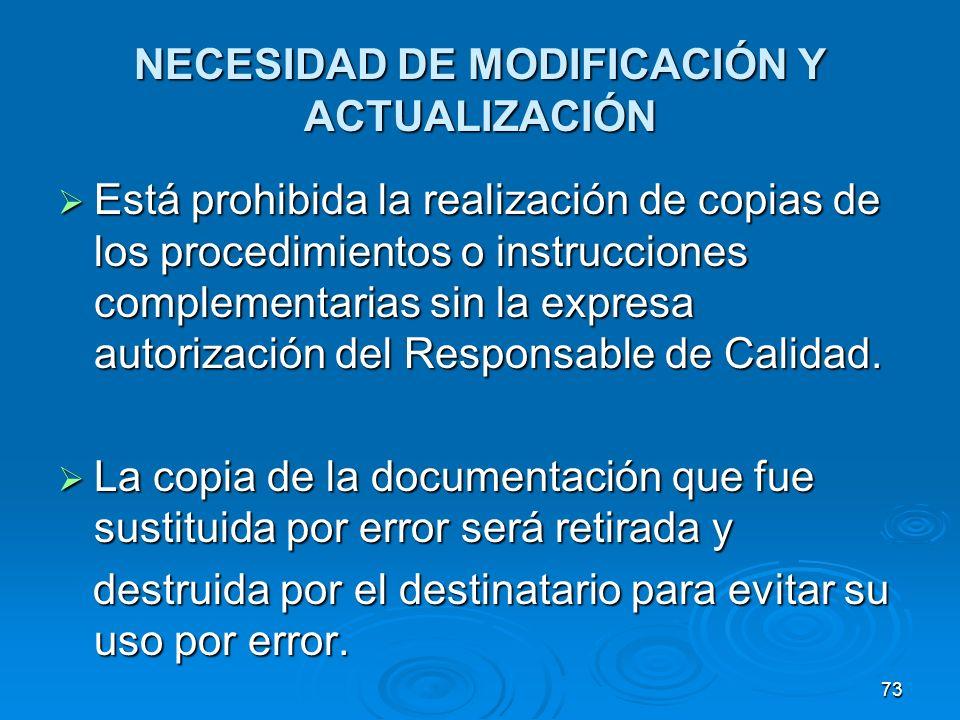 NECESIDAD DE MODIFICACIÓN Y ACTUALIZACIÓN Está prohibida la realización de copias de los procedimientos o instrucciones complementarias sin la expresa