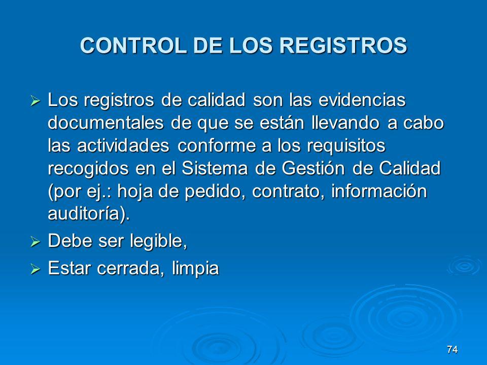 CONTROL DE LOS REGISTROS Los registros de calidad son las evidencias documentales de que se están llevando a cabo las actividades conforme a los requi
