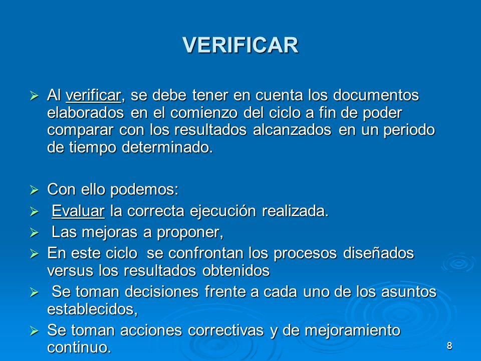VERIFICAR Al verificar, se debe tener en cuenta los documentos elaborados en el comienzo del ciclo a fin de poder comparar con los resultados alcanzad